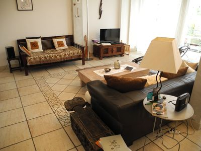 Photo for Large bright apartment with terrace, 200 m from the beaches.