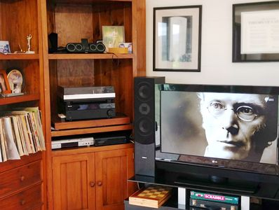 All free to air TV channels, Foxtel, turntable, vinyls. Chromecast 4 streaming.