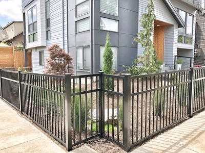 Fenced and landscaped yard.