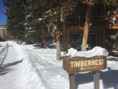 Outside our 1st floor unit.  Timbernest is ~250 yards from ski-lift or Main St.