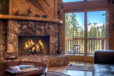 Wood burning fireplace with view of Twin Peaks