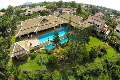 Mountain View Villa One - Overhead shot showing pool and extensive gardens.