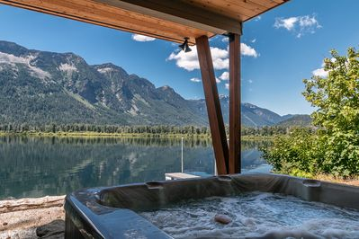 Private covered hot tub overlooking the stunning Lake Wenatchee