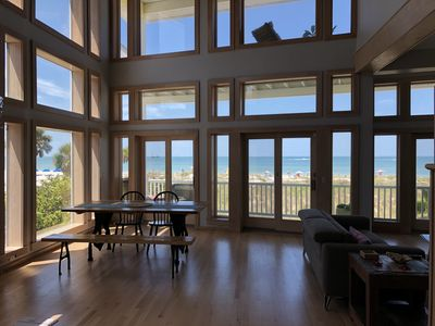 View from the kitchen toward the dining area overlooking the stunning beach!