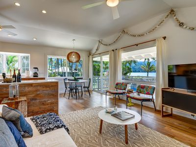 Photo for Hanalei Pier, Beachfront Cottage with A/C and across the yard from the Bay.