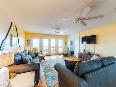 Photo for Dog-friendly, water view beach house w/ a full kitchen, furnished deck, & views