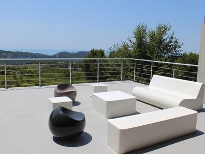 Photo for detached house with pool, panoramic sea view, absolute calm