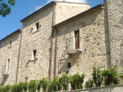 Photo for House with pool, garden and wifi in medieval village, with panoramic views.