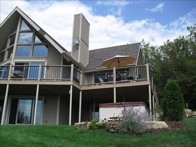 Exterior view of deck and hot tub.