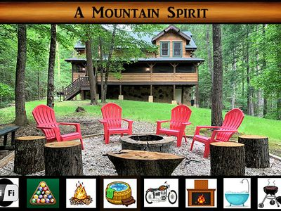 Photo for A Mountain Spirit - Beautiful Private Setting \ Pool Table \ Fire Pit \ Hot Tub