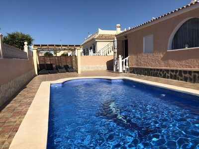 Photo for South facing 4 bedroom Villa sleeping 8/9 with large private pool