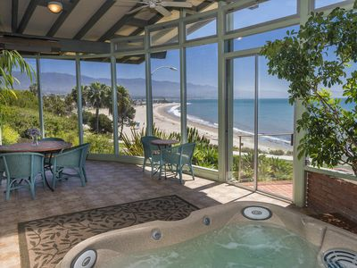 Relax in the spa overlooking the Pacific Ocean.