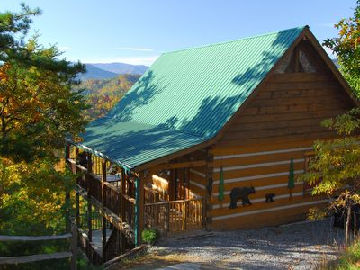 Photo for Perfect real log cabin getaway! Gorgeous views!  Private, 3 Kg Bds