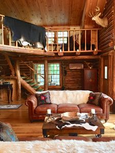 Photo for Beautifully appointed log cabin in Mt Vernon, ME