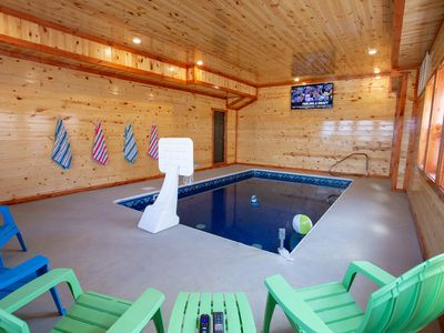 Photo for Lookout Lodge ~ 6 BR, 6.5 Bath Cabin w/Indoor Pool, Theater, Game Room, & Hot Tub ~ Sleeps 28