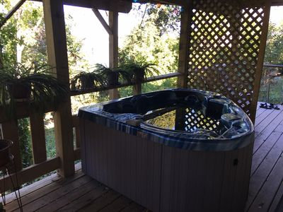 The hot tub is awesome! On lower deck, just outside the bedroom. River views!