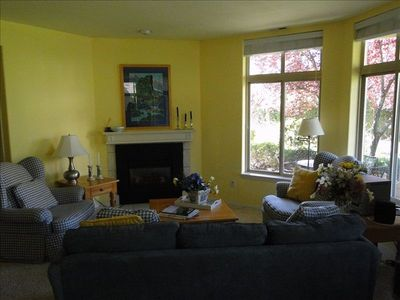 Living Room with gas fireplace, views of landscaped pond, great place to relax