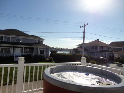 Hot tub  on 2nd floor deck with great bay and ocean views year round
