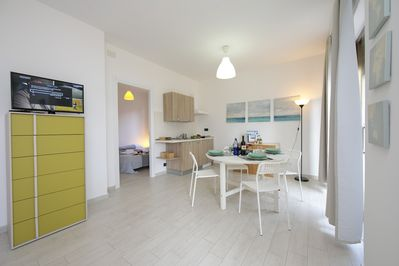Bright living room with kitchenette, sleeping sofa and dining set