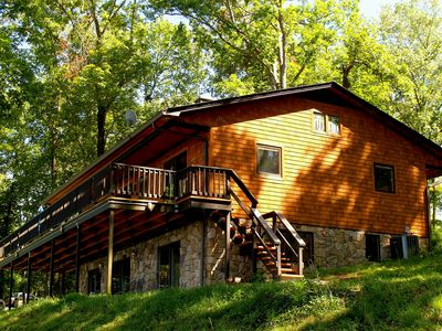 Photo for KY Lake  Arts & Crafts Cedar Shake Home  -  Private Dock/On-site Boat Rentals *