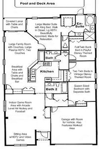 This floor plan is perfect for 2 families with it's dual master bedrooms.