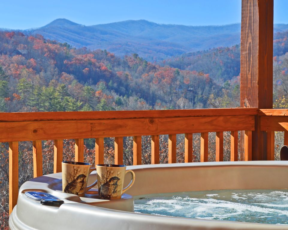 Gatlinburg Cabin Rental   Morning Coffee In The Hot Tub? Definitely Yes!