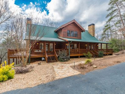 Photo for Rustic Chic Log Cabin, Fireplaces, Hot Tub, Wraparound Deck, Near UNG & Wineries