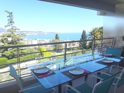 Photo for West Nice, beautiful air-conditioned 2 P / wifi with large terrace facing the sea