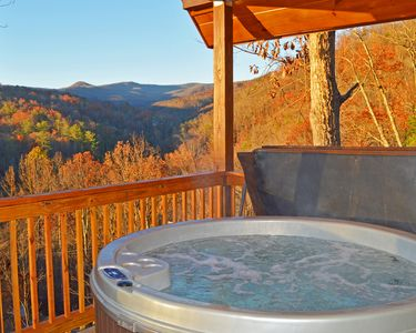 Ski mountain view from the hot tub