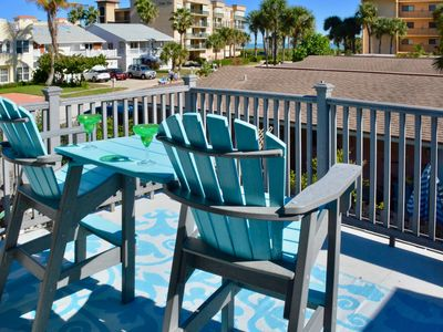 Photo for Ocean view townhome w/ private balcony & courtyard - steps to beach, 1 dog OK!
