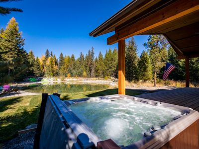 Photo for Brand New 2018 Cabin in Whitefish w/ private pond & hot tub! Sleeps 10!