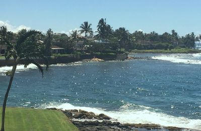 View from lanai: Swim and snorkle in beautiful cove adjacent to Kuhio Shores.
