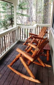 Rocking chairs on the front porch...relax and unwind.