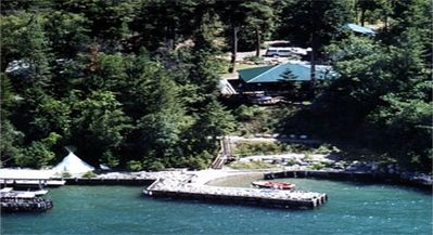 Aerial view of the Marsh Family Cabins and our private dock and beach