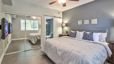 generously sized master suite w/ private bath and walk-in closet