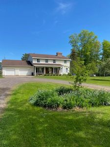 Front of home, private yard surrounded by woods, with a long private, winding dr