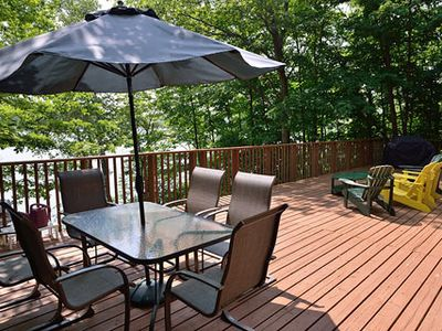 Photo for Beautiful. comfortable cottage, amazing Lake views. Family friendly. Huge deck.