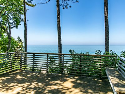 Photo for Amazing luxury lakefront house on Lake Michigan with hot tub, beach, woods