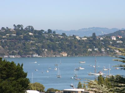 View from home of the Bay with sailboats on the water