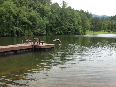 The swimming and fishing lake just steps from the house...