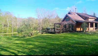 Photo for Secluded Log Home w/ fishing pond and creek in Windham & minutes from Hunter Mtn