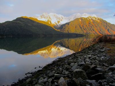 View of the golden hills, from the Lodge shoreline of Lake Eyak... late 2014.