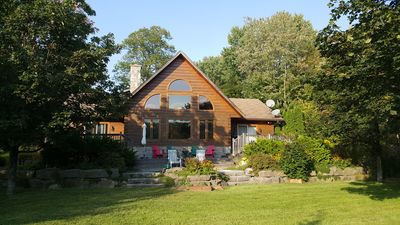 Photo for Log Home on Shadow Lake, Coboconk - perfect family spot, lawn, beach, and deck