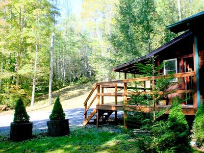 Deck Overlooking The Wolfcreek Cabin Property (50 acres)