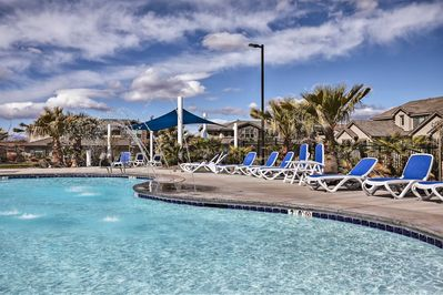 Beat the heat with a swim in the nearby community pool.