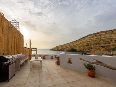 Photo for Stylish apartment right on the beach of Matala