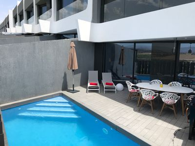 Photo for Designhouse with private pool, right on the golf course