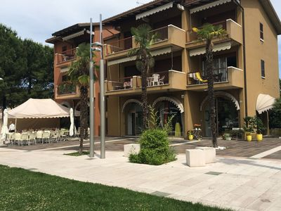 Photo for Studio with balcony in residence with pool within walking distance of Lake Garda