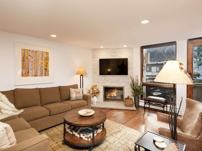 Photo for Amazing Aspen Mountain Views. Convenient Year-Round Location! Elevator, Free Parking, Gas Fireplace.