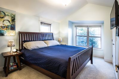 Master bedroom, includes king size bed, and a California closet.